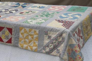 1930s vintage friendship quilt w/ embroidered patchwork sampler quilt blocks