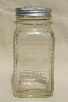 1930s vintage glass canister jar, square waffle glass hoosier spice set bottle w/ metal lid