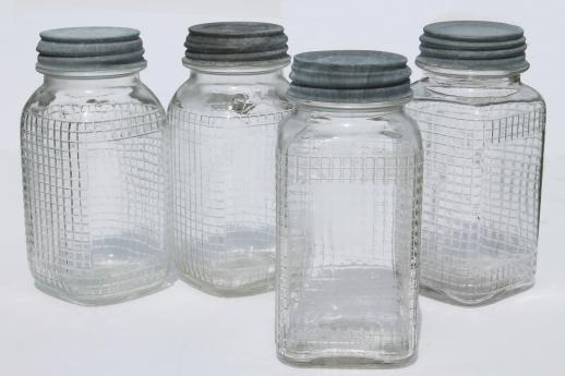 1930s Vintage Glass Canning Jars Square Waffle Glass