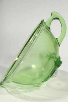 1930s vintage green depression glass batter pitcher mixing bowl, Hazel Atlas glassware