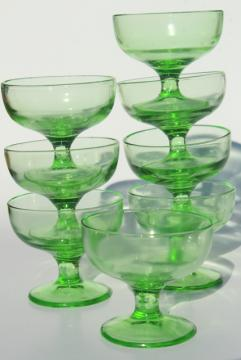 1930s vintage green depression glass sherbets or ice cream bowls, soda fountain dishes