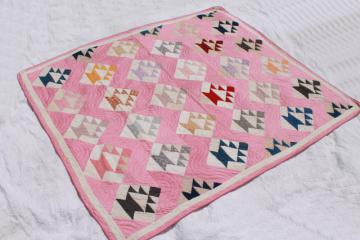 1930s vintage hand-stitched quilt, lovely old cotton fabric patchwork blocks