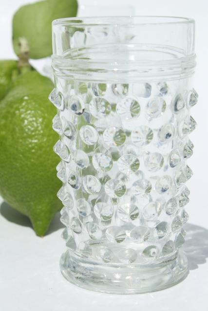 1930s vintage hobnail glass juice tumblers or liqueur glasses set, crystal clear Anchor Hocking