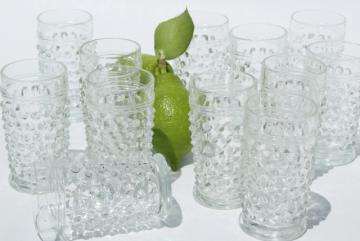 1930s vintage hobnail glass juice tumblers or liqueur glasses set, crystal clear Anchor Hocking