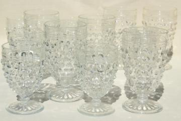 1930s vintage hobnail glass wine glasses & footed tumblers set, crystal clear Anchor Hocking