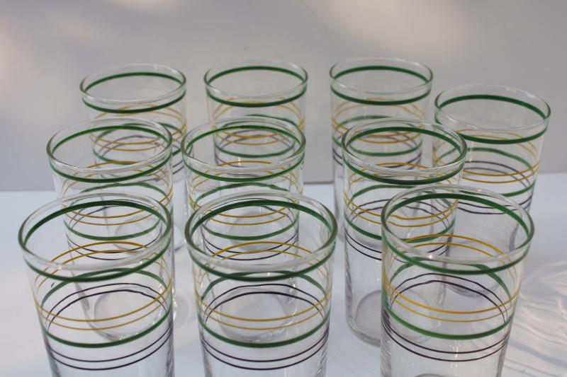 1930s vintage jade green yellow black ring band drinking glasses, depression glass tumblers