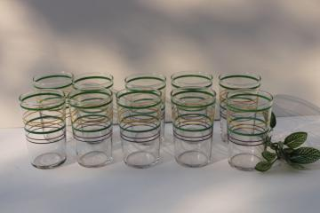 1930s vintage jade green yellow black ring band juice glasses, depression glass tumblers