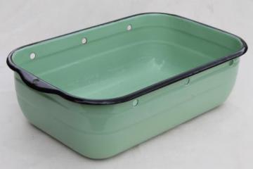 1930s vintage jadite green enamelware refrigerator box, large enamel pan