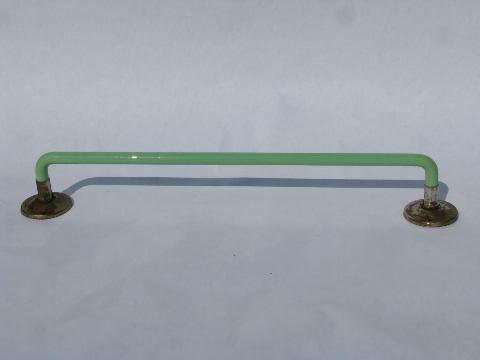 ... jadite green glass towel bar rod for powder room or kitchen sink