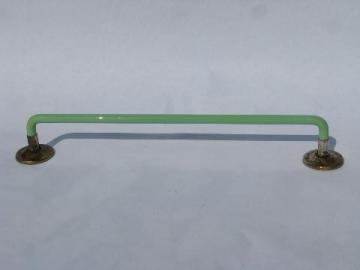 1930s vintage jadite green glass towel bar rod for powder room or kitchen sink