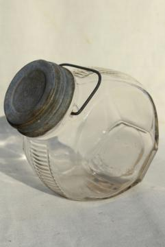 1930s vintage kitchen canister, old glass candy jar w/ wire bail handle, zinc lid