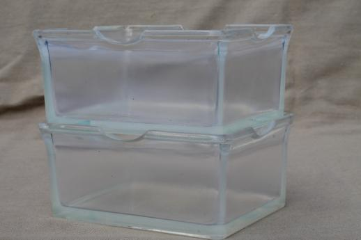 1930s vintage kitchen glass refrigerator boxes clambroth depression