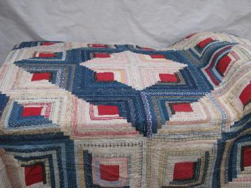 1930's vintage log cabin pattern patchwork quilt, old cotton prints