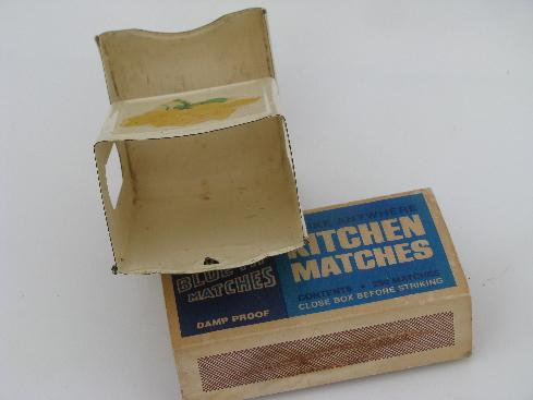 1930s vintage match holder, metal wall box for kitchen stove matches