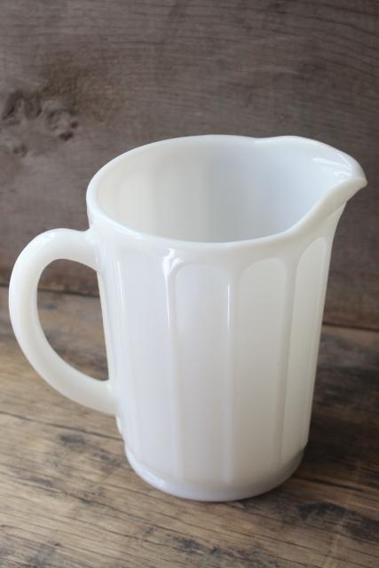 1930s vintage milk glass pitcher, Hazel Atlas ribbon pattern depression glass