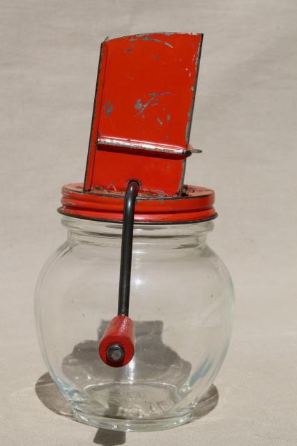 1930s Vintage Nut Grinder Old Red Paint Metal Hand Crank