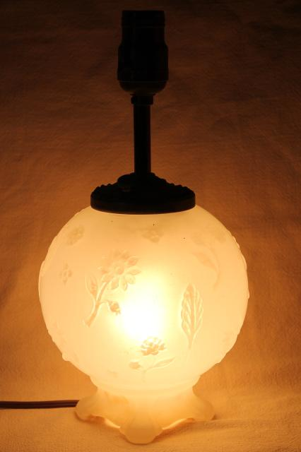 1930s Vintage Opalescent Glass Table Lamp Round Globe