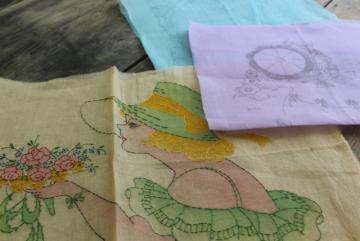 1930s vintage organdy pillow covers to embroider, pastel tinted embroidery hat lady w/ flowers