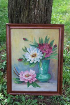 1930s vintage original oil on canvas board, artist signed still life peonies floral