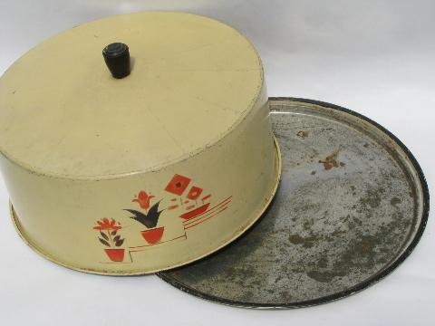1930s vintage painted metal cake cover, red tulips & flowers on cream