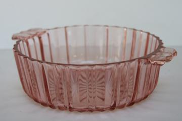 1930s vintage pink depression glass candy dish, Anchor Hocking Fortune pattern