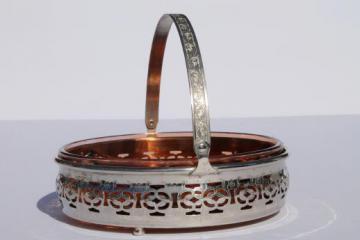 1930s vintage pink depression glass divided relish dish w/ art deco metal basket server