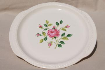 1930s vintage pink rose floral cake plate w/ tray handles, Laurella Universal pottery