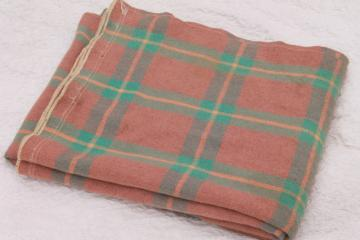 1930s vintage plaid wool camp bunk blanket, jadite green & salmon pink