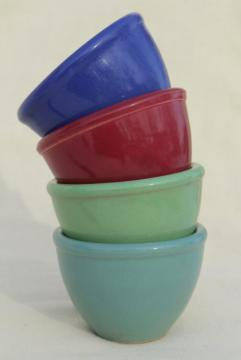1930s vintage pottery custard cups, individual ramekin bowls in red, blue, aqua, green