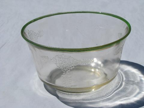 1930s vintage pressed pattern glass, green band pink depression mayonnaise bowl