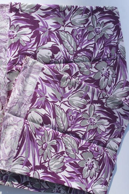 1930s vintage print cotton feed sack fabric, abstract tulips floral purple & grey
