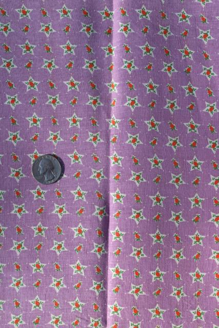 1930s vintage print cotton feed sack fabric, orange and lavender, flowers in stars