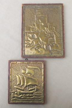 1930s vintage punched brass pictures, arts & crafts Spanish colonial galleon & Alhambra