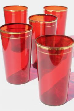 1930s vintage ruby red glass tumblers, drinking glasses w/ gold band trim