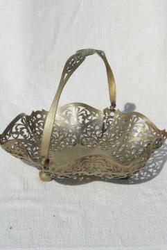 1930s vintage silver brides basket, pierced silver bowl bonbon dish