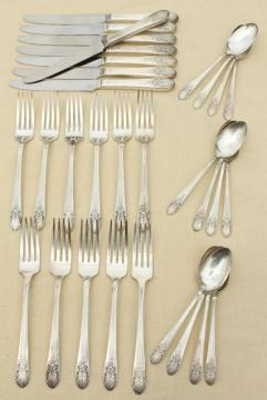 1930s vintage silver plate flatware, Marigold pattern Wm Rogers silverware