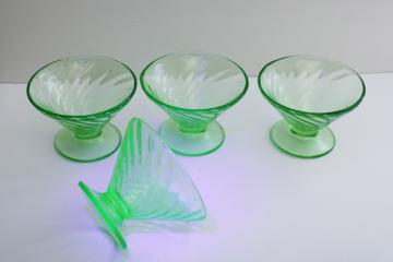 1930s vintage uranium green depression glass ice cream sherbet dishes, spiral pattern