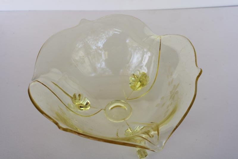1930s yellow depression glass, vintage Jubilee pattern three toed bowl Lancaster glass