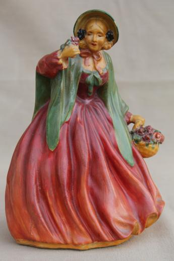 1930s 40s Vintage Chalkware Lady Figurines Kitschy