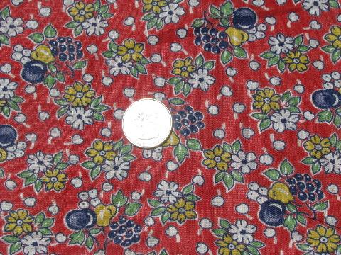1930s-40s vintage fruit print on red cotton fabric, for kitchen aprons etc.