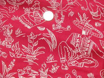 1930s-40s vintage pure silk fabric, Old Mexico print in white on maroon