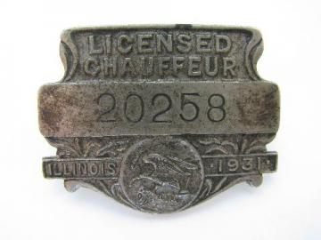 1931 licensed Illinois chauffeur badge pin license