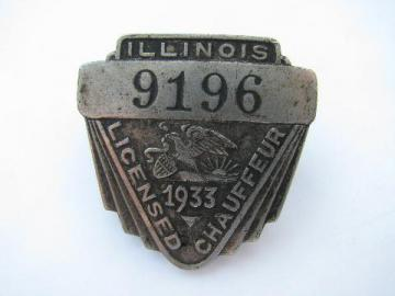 1933 licensed Illinois chauffeur badge pin license
