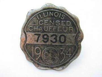 1934 licensed Illinois chauffeur badge pin license