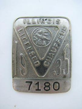 1935 licensed Illinois chauffeur badge pin license