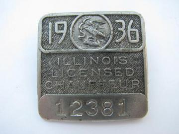 1936 licensed Illinois chauffeur badge pin license