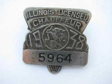 1938 licensed Illinois chauffeur badge pin license
