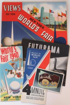 1939 1940 New York World's Fair paper ephemera, brochures, Futurama booklet etc.