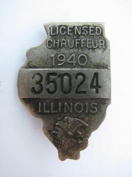 1940 licensed Illinois chauffeur badge pin license