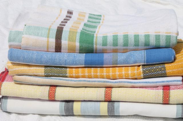 1940s, 50s, 60s Vintage Kitchen Tablecloths, Retro Plaids, Plaid Woven U0026  Print Fabric